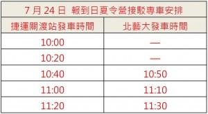 7月24日 報到日夏令營接駁專車安排